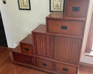 Staired Chest of Drawers with sliding door access cabinet