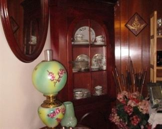 Gone with the wind lamp, stand and one of two corner cabinets