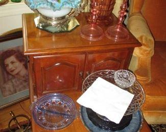 Brides basket on end table & pink glass