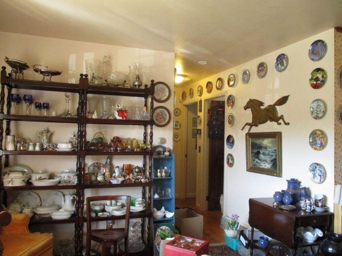 China, glass, tea cart & decorative items