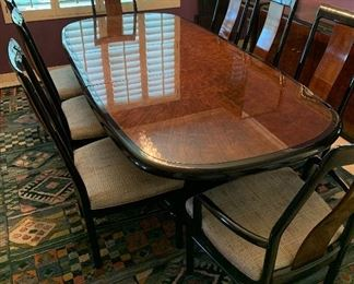 Stunning Drexel Heritage Asian Modern Burled Starburst Profiles Dining Table and Chairs, Stunning Drexel Heritage Buffet/China Cabinets, Area Rug