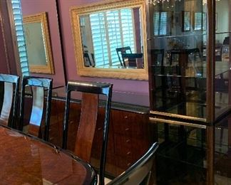 Stunning Drexel Heritage Dining Table and Chairs, Stunning Drexel Heritage Buffet/China Cabinets, Area Rug, Gold Mirror