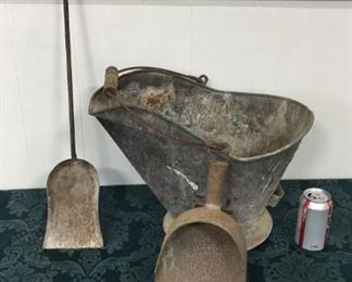 Antique Coal Scuttle and scoops