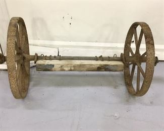 Primitive cart axle and wheels