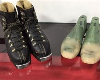 Antique Ski boots and shoe forms