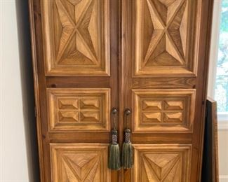 This is a wardrobe that the homeowner converted to a bar.  Again, a very functional piece and unusual  design for a wardrobe.  Look inside on the next photo.