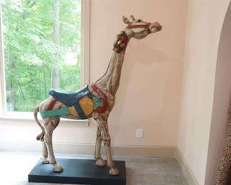 American large polychrome giraffe carousel animal