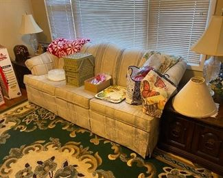 Sofa, living room rug, end tables, lamps and more