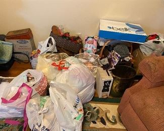 Clothes, toys, knock knacks, Christmas decorations, sewing supplies