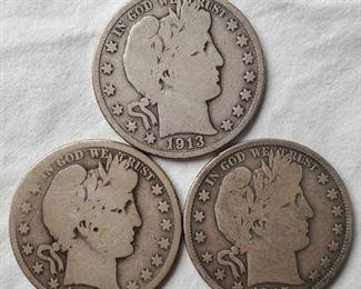 3 key date Barber silver half dollars