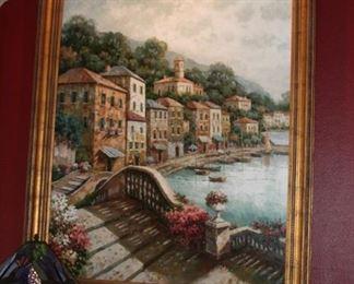 "Coast view Village - oil painting 48"" x 61"" frame 56 1/2"" x 69"" - $1,950"