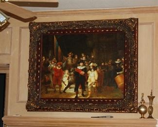 """Rembrandt - """"The Night Watch"""" oil painting - painting size 37"""" x 48"""" - frame 50 1/2"""" x 61""""  $950"""