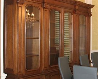 """Large Breakfront Bookcase China Cabinet - 117"""" x 91"""" x 17""""  - $2,750"""