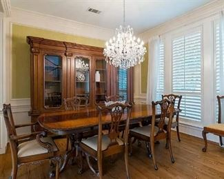 Chippendale style dining table with 12 chairs 3-leaves - $2,250