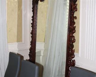 """large carved wood beveled mirror - 90"""" t x 54"""" w - $775"""