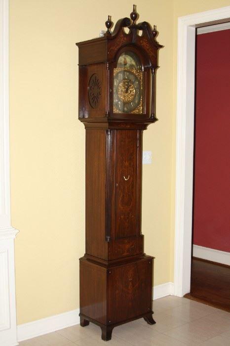 antique Tiffany (tall case) Inlaid Grandfather Clock -  $14,500