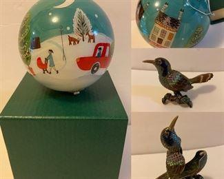 Pier 1 Imports Collectible Ornament  Enamel & Stones Bird Trinket Box