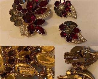 Vintage Eisenberg Ice Brooch & Earrings Set