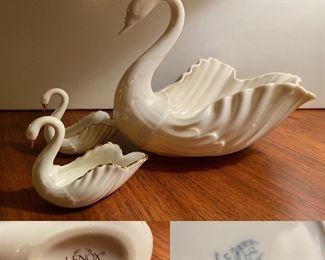 Large Lenox USA Swan Pair Small Lenox Swans