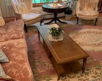 Cut velvet French style sofa, pair of wing back chairs and Chinese style Oriental Rug