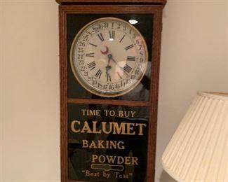 Vintage Calumet bakery key wind wall clock