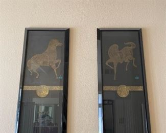 Two large framed Asian inspired artwork