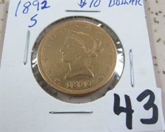 1892-S Gold $10.00 Coin