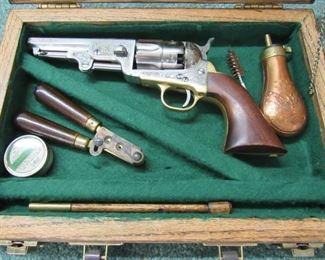 Engraved .44 Caliber Black Powder Pistol - Never Fired in Oak Case