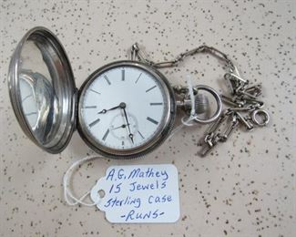 A.G. Mathey 15 Jewels Pocket Watch
