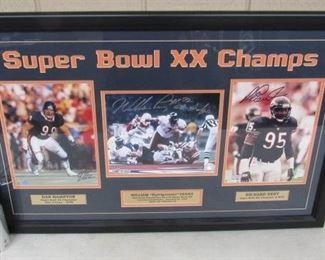 Bears Super Bowl XX Champs Photos w/Dan Hampton Autograph, William Perry Autograph, & Richard Dent Autograph - Has Certificate on Back