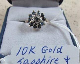 10K Gold, Sapphire & Diamond Ring