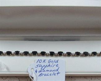 10K Gold, Sapphire & Diamond Bracelet