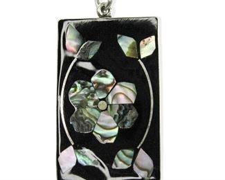 Beautiful Abalone inlay Sterling Silver Pendant