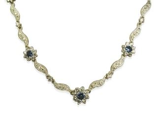 Sterling Silver CZ Flower Necklace