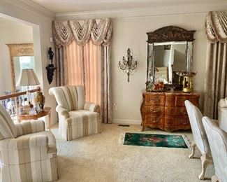 Room view  - valances and curtains for sale , Bombay chest,  chinoiserie mirror
