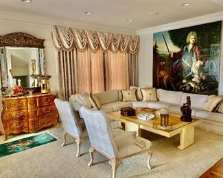 Room view  - valences, large painting, chairs  for sale