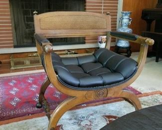 Asian Modern Chair, Large Silk Rug, and Persian Rug