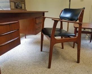 Mid Century Modern Teak Desk and Chair