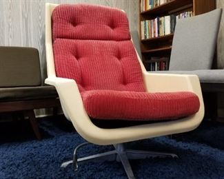 Molded Plastic Modern Chair with Cushions
