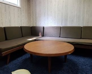 Silkeborg Denmark Teak Round Coffee Table and MCM Sectional Daybed