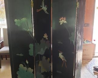 Amazing! Asian wood lacquer screen room divider