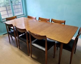 Gustav Bahus teak table with 3 leaves and 8 chairs