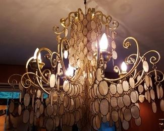 MCM capiz shell chandelier