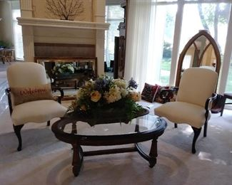 Beautiful cream upholstered chairs & cocktail table