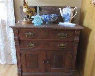 Marble top antique chest