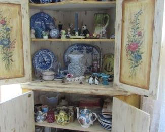 Lots of antique and vintage glassware, china, pottery,  teapots, etc.