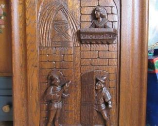Antique large wood relief wall hanging.
