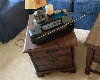 3 drawer end table, boom box and lamp