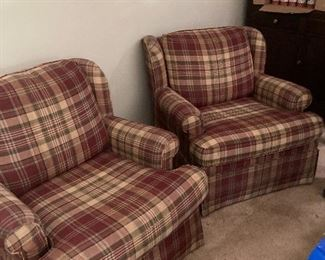 2 Plaid matching occasional chairs