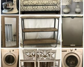 LG Washer & Dryer With Pedestals - Winchester Gun Safe - Wonderful Furniture - Large Floor Mirror - Kitchen Aid Mixer - Outdoor Furniture -   Mini Frigidaire - Stock Pot and Propane Burner - Woman's Shoes -